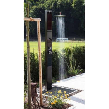 Designová zahradní sprcha z nerez oceli s černým bezpečnostním sklem Ideal Eichenwald